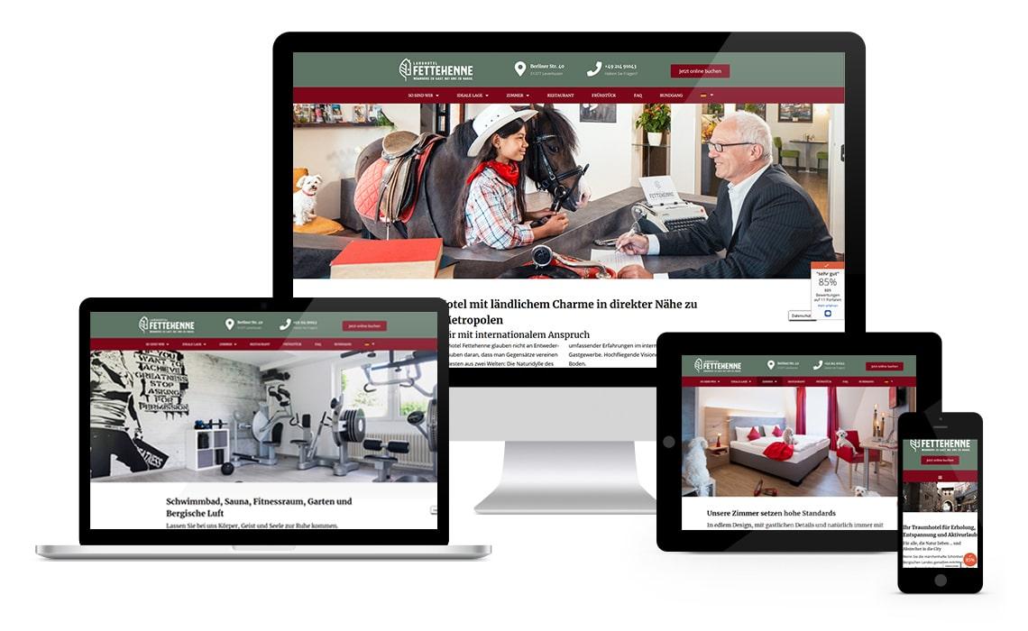 Referenz Hotel Fette Henne in Leverkusen, Webseite mit WordPress
